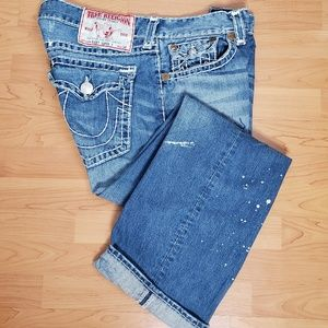 True Religion Ricky Super T Paint Dripped Jeans 38